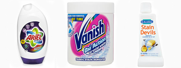 Ariel, Vanish Oxi amd Stain Devils stain removers