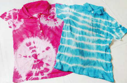 Finished tie-dyed T-shirts
