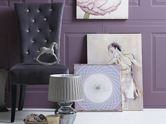 Purple chair and wall art