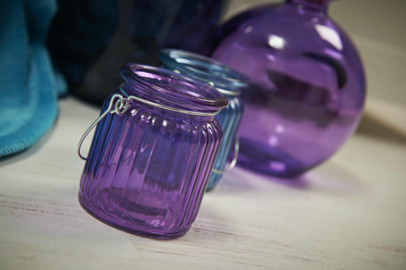 Purple and blue glass jars