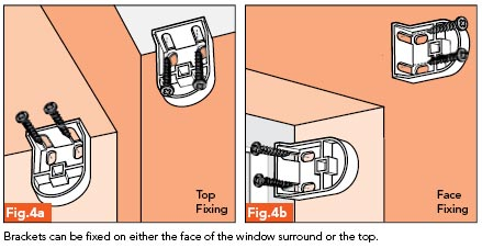 Figs. 4a and 4b - brackets can be fixed on either the face of the window surround or the top