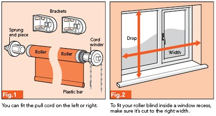 Fig. 1 - You can fit the pull cord on the left or right; Fig. 2 - To fit your roller blind inside a window recess, make sure it's the correct width.