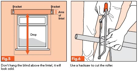 Fig. 5 - Don't hang the blind above the lintel, it will look odd; Fig. 6 - Use a hacksaw to cut the roller
