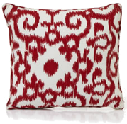 Red ikat-print cushion