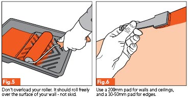 Fig 5 - Don't overload your roller. It should not skid over walls. Fig.6 - Use a 200mm pad for walls and ceilings. Use a 30-50mm pad for edges.