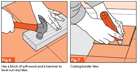Fig. 6 - Use a blog of soft wood and a hammer to level out vinyl tiles; Fig. 7 - Cutting border tiles