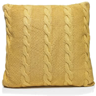 yellow cable knit cushion