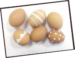 double-sided tape on eggs