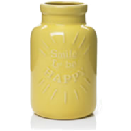 "yellow ""happy"" vase"