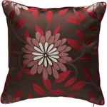 Brown & red floral cushion