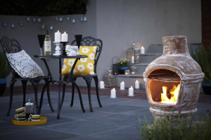 Garden chairs & chiminea on patio