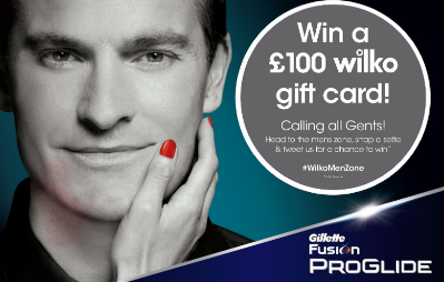 Gillette competition - win £100 Wilko gift card