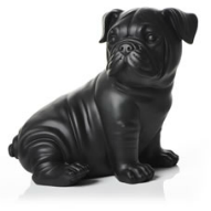 black bulldog garden ornament