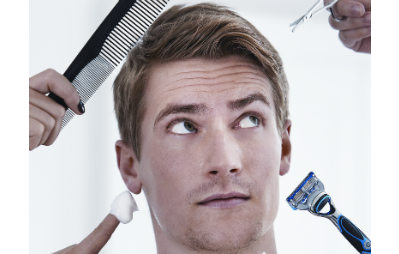 man with grooming tools