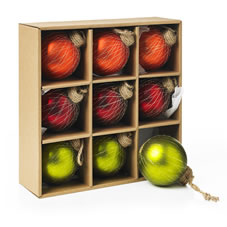 9 pack of glass baubles