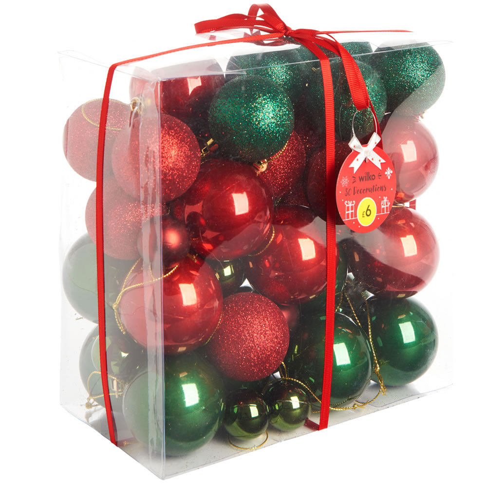 NEW CHRISTMAS 50 PC TREE DECORATION GORGEOUS STYLE DESIGNS GLITTER BAUBLES SET