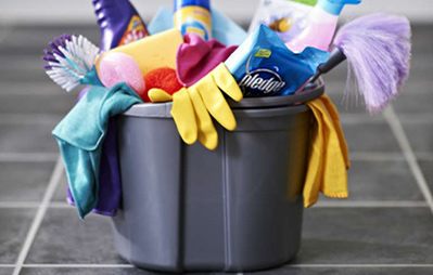 bucket with cleaning products