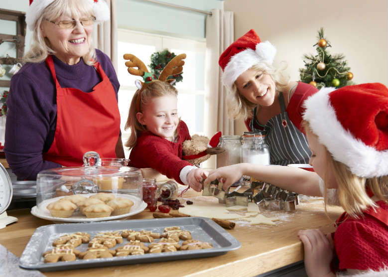 family baking in the kitchen at christmas