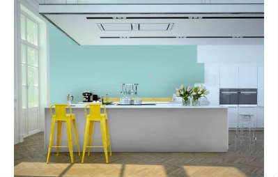 kitchen with yellow stools