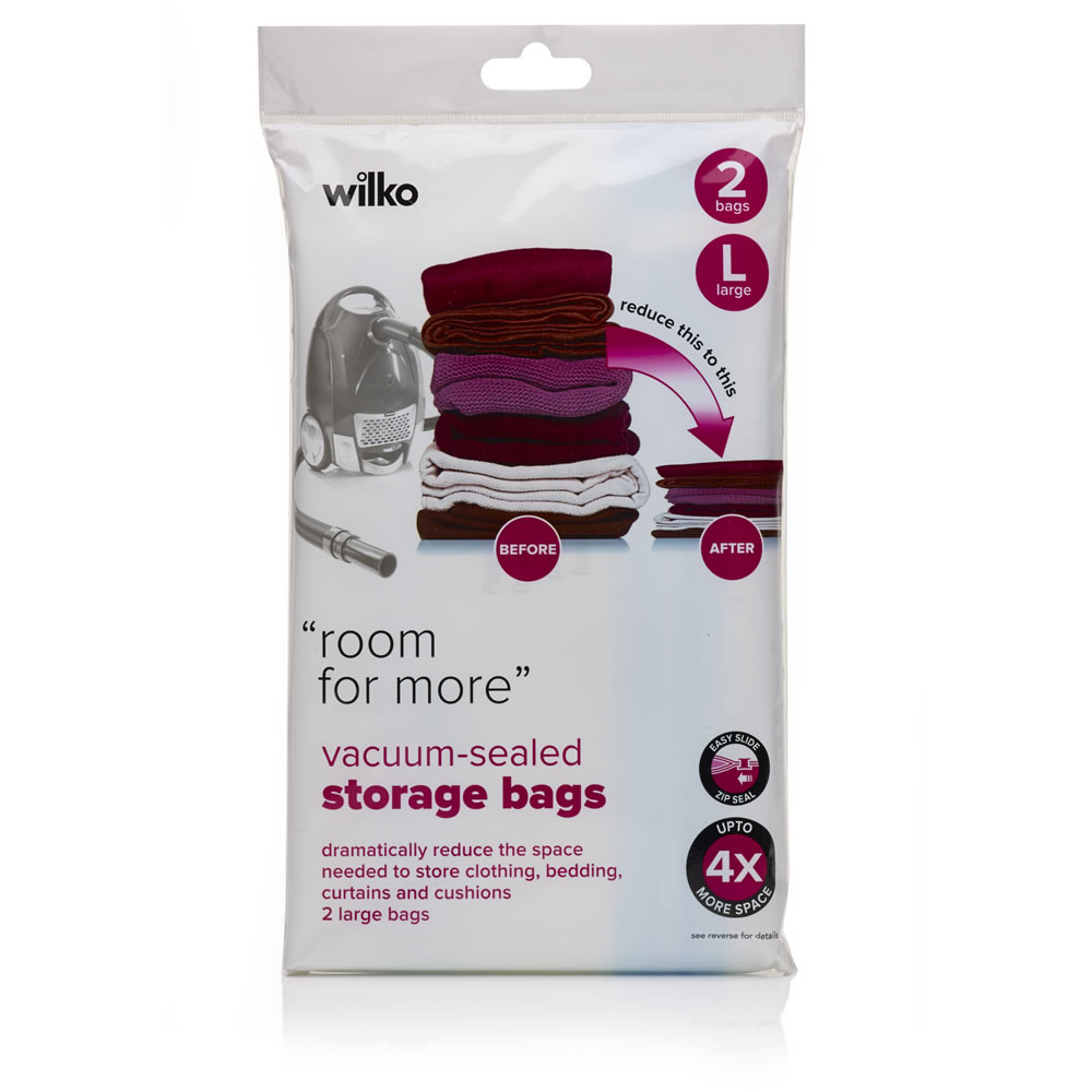 Wilko Vacuum Sealed Storage Bags Large 2pk Image