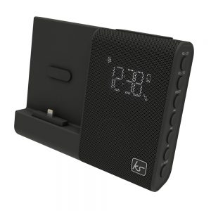 KitSound XDOCK 4 Clock Radio Speaker black showing the time on white background
