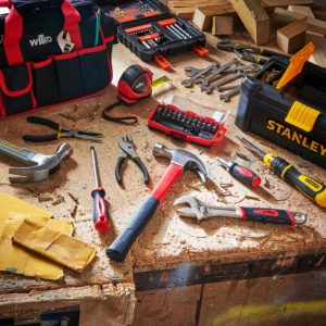 diy tool table showing screwdrivers and hammers