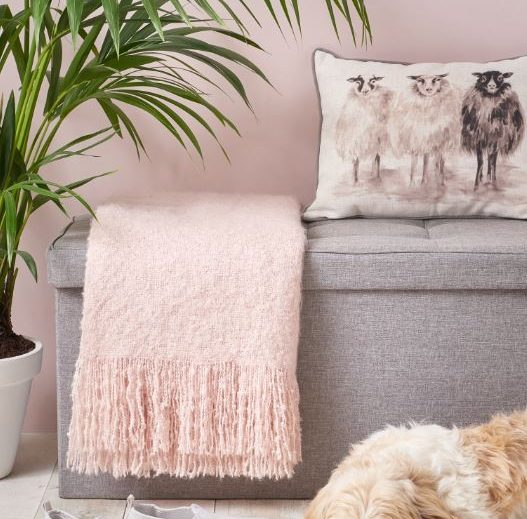 Wilko Pink Throw and Grey Ottoman