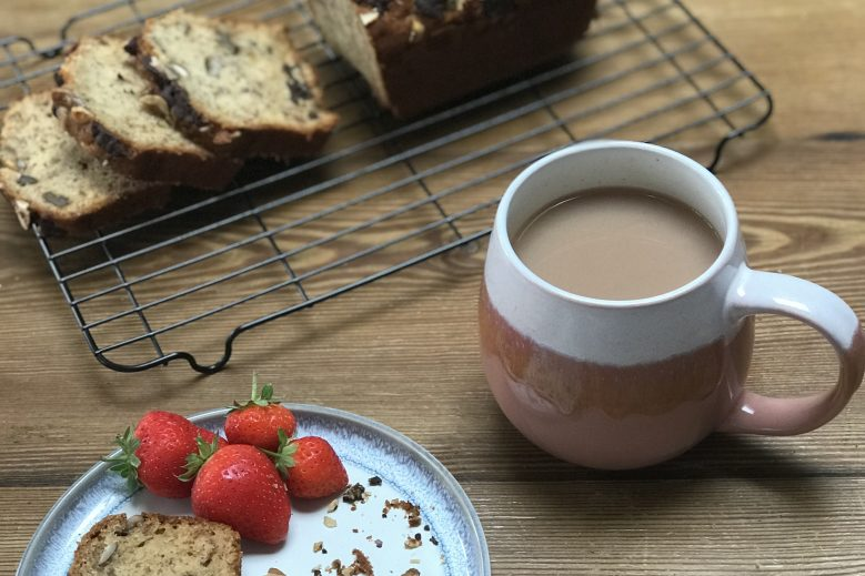 @lindandcohome banana bread with strawberries
