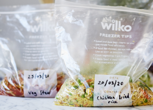 Batch Cooking Labelled in Wilko Freezer Bags